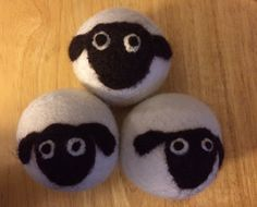 """Wool dryer balls, set of 3 Free Shipping. Set of 3 Wool dryer balls with a hand needle felted sheep design on each one. Each ball measures about 2 1/2"""" in diameter and they are made of New Zealand wool Dry your clothes faster and also soften clothing too. Please note that each design is hand felted so each one is slightly different. You will get 3 dryer balls similar to what is shown in the pictures They make great house warming gift or to give family and friends for holidays or special..."""