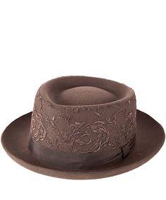 Grevi Brown Lace Fedora Felt Hat
