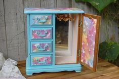 Jewelry Box Shabby Chic Jewelry Armoire Aqua Watercolor #GoldJewelleryMen