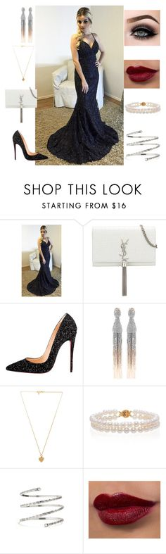"""prom dresses party dress"" by jacqueline6231 ❤ liked on Polyvore featuring Yves Saint Laurent, Christian Louboutin, Oscar de la Renta, Vanessa Mooney, Belk & Co., Venus and ASAP"