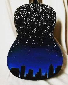 I finally finished painting my ukulele! Now it's time to play it!  * * #ukelele #summer #2016 #painted #paint #artist #music #nightsky #painting #art #workofart #finished #completed #ukeleleart #paintedukelele #instagram #likeforlike #follow4follow