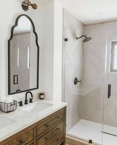 Fresh, Clean Bathroom Design with Neutral Home Decor Features Vintage Two-Light Vanity Fixture - Modern Guest Bathrooms, Bathroom Renos, Bathroom Interior, Master Bathroom, Bathroom Ideas, Budget Bathroom, Master Bath Vanity, Light Bathroom, Washroom