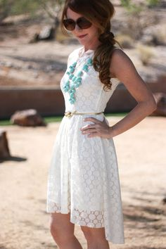 Lace dress and statement necklace