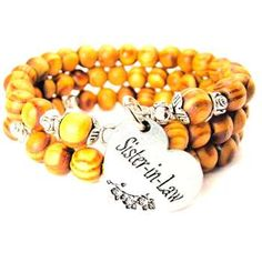 NATURAL WOOD WRAP BANGLE SISTER-IN-LAW HEART WITH FLOWERS BRACELET - See more at: http://www.chubbychicocharms.com #Family #Love #Natural #HandMade