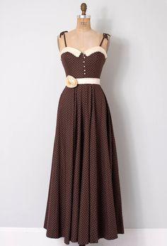 vintage 1970s gunne sax dress / polka dot 70s maxi by SwaneeGRACE