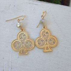 Kate Spade inspired Gold Spade Drop Earrings with white quartz bead accent....only $12!!!!!