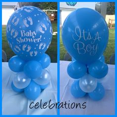 These baby shower table toppers make the perfect centrepiece for you outdoor celebration available at celebrations   www.celebrationsnsw.com #babyshower #itsaboy #balloons