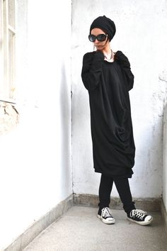 Oversize Black Loose Casual Top / Asymmetric Raglan by Aakasha