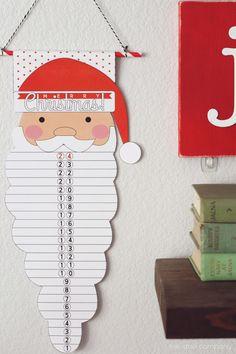 Christmas printable Santa Countdown! Fun holiday idea for the kids. | www.thirtyhandmadedays.com