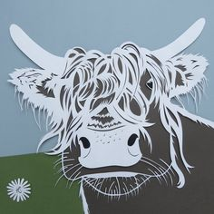 highland cow giclée print of original papercut. by HandrawnArt