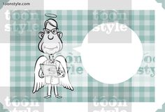 Greeting card with angel holding laptop computer – personalize your card with a custom text