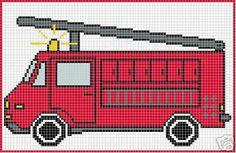 Firetruck Crochet Graphghan Pattern Chart/Graph by . Ravelry Free Patterns, Cross Stitch Patterns, Knitting Patterns, Crochet Patterns, Fireman Crafts, Firefighter Crafts, Knitting Charts, Hand Knitting, Fireman Sam