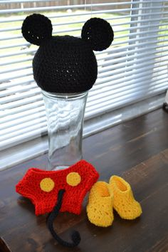 Mickey Mouse Diaper Cover Hat and Slippers by CrochetQueeny, $30.00