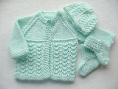 Knitted Baby Set from Craft Passions Baby Knitting Patterns Free Newborn, Baby Cardigan Knitting Pattern Free, Crochet Baby Jacket, Baby Sweater Patterns, Knitted Baby Cardigan, Knit Baby Sweaters, Knitted Baby Clothes, Baby Patterns, Free Knitting