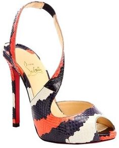 Louis Vuitton Christian Louboutin Viveka Black, White, Orange Sandals