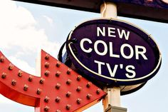 Vintage New Color TVs Sign  Route 66 Neon by RetroRoadsidePhoto