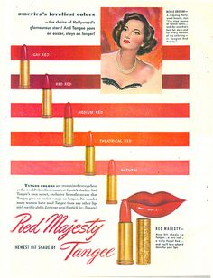 An elegant 1940s ad for Tangee lipstick showing a spectrum of shades that were available at the time.