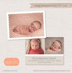 Birth Announcement Template Photo Collage - Scalloped Photo CB033 - PSD Flat Card