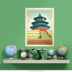 Beijing China Temple Of Heaven Wall Decal | World Travel Decor | RetroPlanet.com Add faraway beauty to a familiar location with Anderson Design Group's award winning classic travel poster art. This Beijing Wall Decal, featuring the famous Temple of Heaven, will strike an exotic chord in your home or office decor. Original artwork sports stunning colors and beautiful details, while the durable wall sticker is easy to apply.