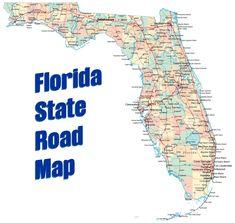 Florida State Road Map Florida Road Map, Map Of Florida Cities, Texas State Map, Florida Oranges, Map Outline, Palm Coast, Sunshine State, City Maps, Panama City Panama