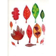 Fall Leaf Original Painting, Autumn Watercolour Art, 9 by 12 ($54) ❤ liked on Polyvore featuring home, home decor, wall art, water color painting, red wall art, fall home decor, watercolour painting and leaf painting