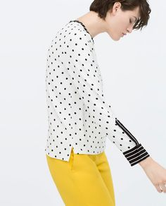 ZARA - WOMAN - DOTTED TOP WITH CONTRAST CUFF