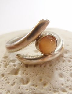 Peach moonstone Sterling silver ring handcrafted ring