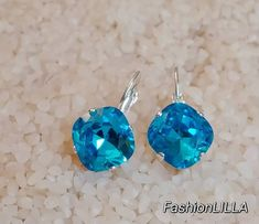 Swarovski aquamarine crystal square earrings,cushion cut blue bridal earring in silver,something blue,dark aquamarine wedding earring Bridal Jewelry, Unique Jewelry, Vintage Jewelry, Handmade Jewelry, Indian Jewelry, Aquamarine Wedding, Aquamarine Crystal, Swarovski Jewelry, Swarovski Crystals