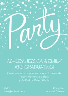 Kids Birthday Invitations - partyinvitations.com Birthday Invitations Kids, Graduation Party Invitations, Turquoise Party, Return Address Stickers, Special Text, Graduation Photos, Personalized Stationery, Festival Party, Invitation Design