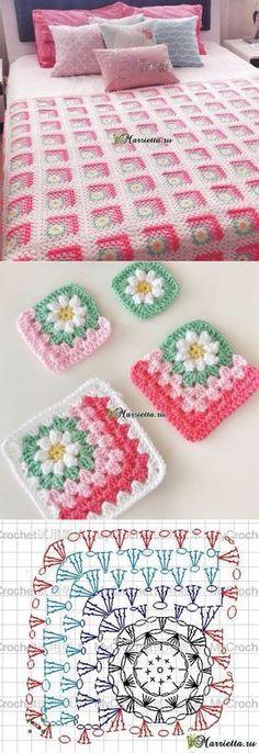 Hermosísima cubrecama! Con crochet, toques únicos... Se rayó quien la tiene, simplemente bella! A...