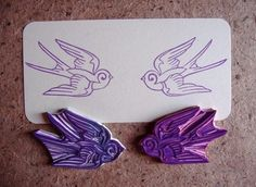 symmetrical swallows hand carved stamp set. $16.00, via Etsy.