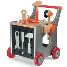 Great gift for kids: wooden workbench cart We love encouraging our kids to step away from the screens, like with these wonderful preschool toys meant for pretend play and imagination. Wooden Gifts, Wooden Diy, Wooden Cart, Baby Play, Baby Kids, Toy Art, Preschool Toys, Wood Toys, Pretend Play