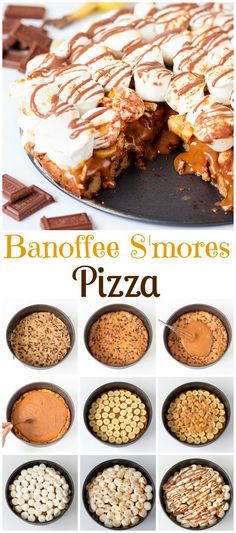 Banoffee S'mores Pizza!  Banoffee pie and S'mores. Ready in 30 minutes, this sweet 'pizza' will have your guests drooling!
