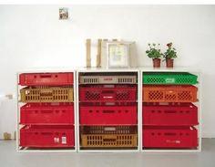 fruit crates. Coke crates