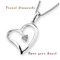 Open your heart pendant in 18K White gold with one round 0.09 carat diamond in centre. View more collections #FinestDiamonds www.finestdiamonds.com.au