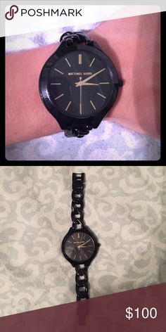 Black and gold Michael Kors watch Black and gold Michael Kors watch. Barely used. Michael Kors Accessories Watches