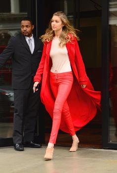 Gigi Hadid's Red Pants and Sweater at Fashion Week 2016 | POPSUGAR Fashion