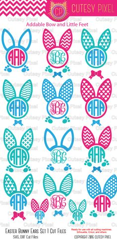 Easter bunny ears Monogram Frames Svg cutting file, bunny ears SVG, DXF, Cricut Design Space, Silhouette Studio,Digital Cut Files by CutesyPixel on Etsy