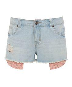 Wedgewood blue (Blue) Pale Blue Floral Pocket Denim Shorts | 266732144 | New Look