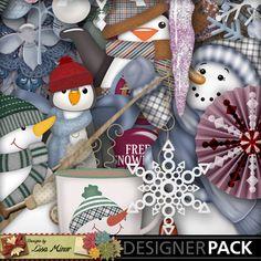 Flaky Friends Digital Scrapbook kit, snowman scrapbook kit, snow scrapbook kit, penguin scrapbook kit, winter scrapbook kit, snowflakes scrapbook