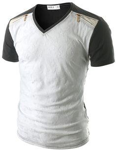 Doublju Men's Embossed Pattern V-neck T-Shirt Mens Polo T Shirts, Cool Tee Shirts, Boys T Shirts, Hip Hop Costumes, Korean Fashion, Mens Fashion, Casual Wear For Men, Casual Outfits, Fashion Outfits