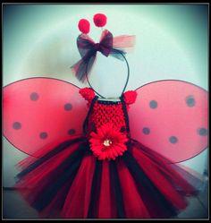 SALE.... 4 piece Halloween Costume (can be worn 3 ways) Lady Bug Tutu Dress, Flower Girl, Birthday, Tutu, with Wings. $29.00, via Etsy.