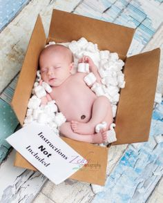 UPS, newborn photo idea, USPS, mailbox, baby boy newborn, blue, box, packing peanuts  ©Zehn Photography www.zehnphotography.com www.facebook.com/zehnphoto