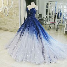 Buy Ombre Ball Gown Royal Blue Prom Dresses With Appliques, Long V Neck Quinceanera Dresses online.Shop short long ombre prom, homecoming, bridesmaid evening dresses at Couture Candy Cocktail party dresses, formal ball gowns in ombre colors. Royal Blue Prom Dresses, Cute Prom Dresses, Quince Dresses, Pretty Dresses, Homecoming Dresses, Bride Dresses, Elegant Dresses, Dresses Dresses, Ball Gowns Prom