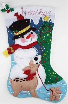 Snowman & Friends Jumbo Stocking Felt Applique Kit