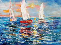 Original oil painting Regatta at Sunrise  Sailing by Karensfineart