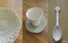 Teacup and sacuer detail with rose teaspoon. Shake It Off, Teacup, Ceramics, My Favorite Things, Detail, Rose, Tableware, Garden, Ceramica