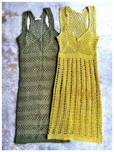 .  I like this style...I'm not sure avout the color.  Maybe the yellow to pop off the aqua chair. But I think natural would look better then add little pops of color with your bracelets and maybe taking fishing line and sewing in little pieces of shells or specials items that are precious as if you caught them in your net.  #crochet dresses