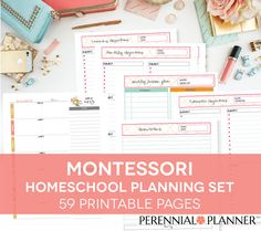 MONTESSORI Homeschool Printable Lesson Plan, Weekly Calendar, Materials List, Learning Objectives, Back to School