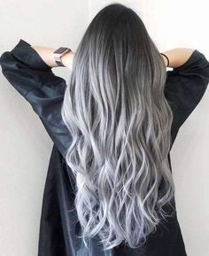 21 Stunning Purple Ombre Hair Color Ideas for 2019 - Style My Hairs Silver Ombre Hair, Ombre Hair Color, Hair Color Balayage, Gray Hair, Black And Grey Hair, Black To Silver Ombre, Hair Colour, Brown Hair With Grey Ombre, Long Grey Hair